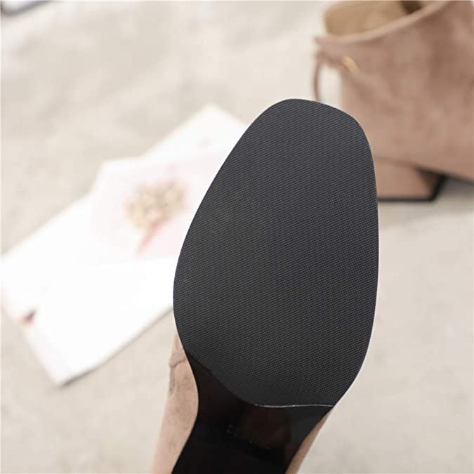ccab792431 Botas cuadradas de tacón Alto para Mujer Botines de Hombro Corto de Gamuza  Bombas de tacón  Amazon.es  Zapatos y complementos