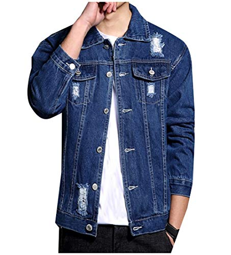 Jacket Jean Coat Turn Down Collar Blue Mens Buttoned Holes Denim RkBaoye Short Dark YvgW0Znq