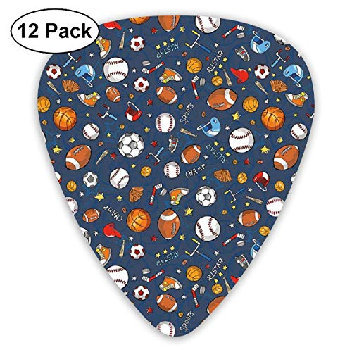 Guitar Picks 12-Pack,Many Basketball Baseball And Football Icons Champ Gloves Dark Background