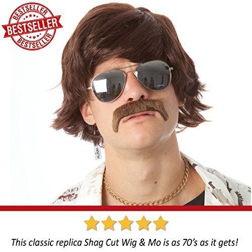 60s 70s Sonny Bono Wig and Mustache Short Brown Ron Burgundy Wigs Mens Shag Hippie Costumes Fits Adu - http://coolthings.us