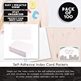 Juvale 100-Pack Self-Adhesive Index Card Pockets