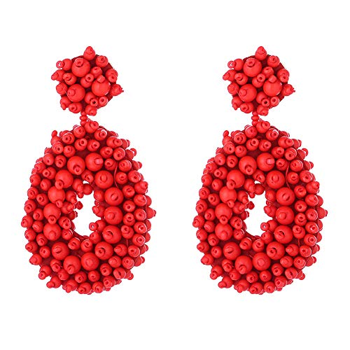 (Statement Bead Earrings for Women Fashion - Lightweight Drop Dangle Earrings - Gift for Sister, Wife, Mother or Daily Wear (Red Drop Bead)