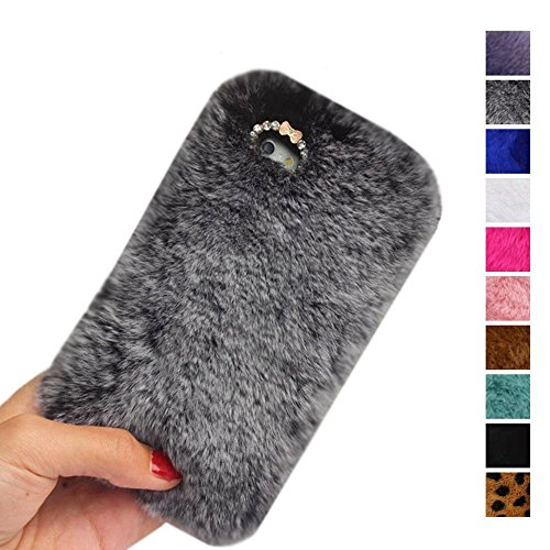 Deluxe Port Record (iPhone 7 Case,Inspirationc Luxury Stylish Bling Fluffy Cover Plush Rabbit Hair Fur Cases Decorative Handmade Cover for Apple iPhone 7 4.7 Inch--Gray)