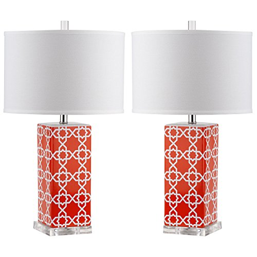 Safavieh Lighting Collection Quatrefoil Table Lamp, Orange, Set of 2