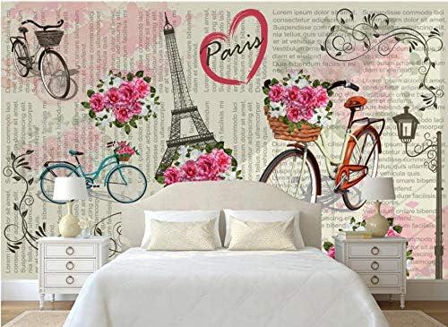 Papeles De Pared 3D Paris Bicicleta Flor Mural Moderno Fotomurales ...