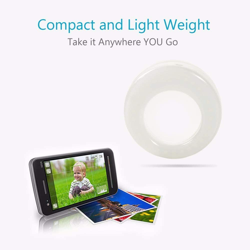 LED Circle Light Cell Phone Laptop Camera Photography Video Lighting Clip on Rechargeable White