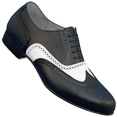 Aris Allen Men's 1930s Black and White Spectator Wingtip Dance Shoe (11.5)