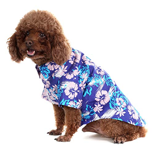 EXPAWLORER Dog Hawaiian T-Shirt Classic Polo Collars with Fashion Print Pattern Summer Essential Parent-Child Clothing Recommended Blue Medium