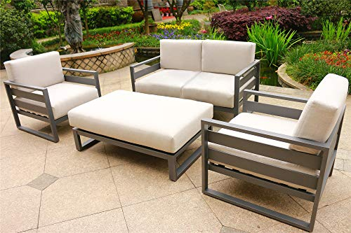 Angelina 4 Piece Patio Aluminum Deep Seating Set (Cast Silver Sunbrella Cushions)