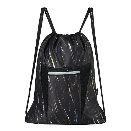 Price comparison product image Saigain Sport Gym Sack Large Drawstring Backpack Bag Sackpack with Zipper for Men & Women (Stripe Static)