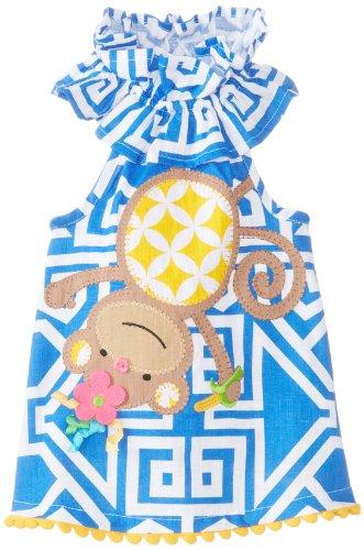 Cozy Monkey - Mud Pie Girls' Baby-Newborn Monkey Dress, Multi, 6-9 Months