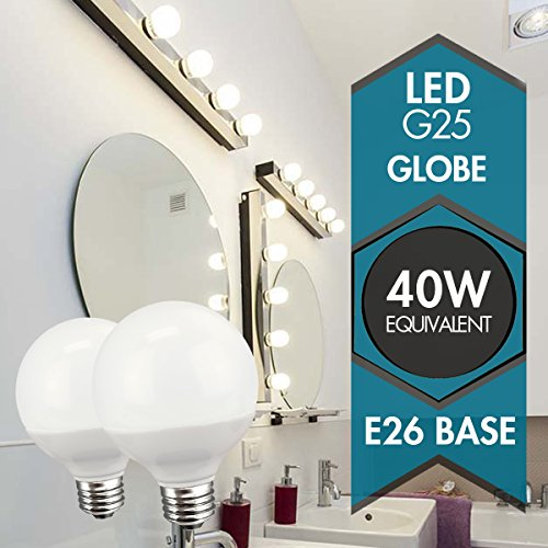 Newhouse Lighting 40w Equivalent Incandescent G25 Dimmable: TCP Decorative Globe Vanity Light Bulbs, Round, G25, E26