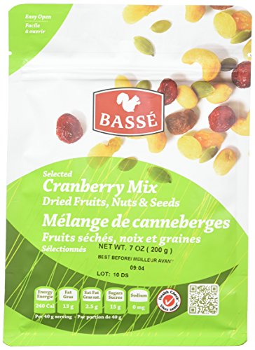 (12 Pack Cranberry Trail Mix 7oz Snack Bags from Basse Nuts, Selected Craisin Trail Mix Dried Fruits, Nuts, Seeds - Dried Cranberries, Roasted Peanuts, Raisins, Raw Pumpkin Seeds, Cashews & More!)