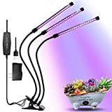 LED Grow Light, 27W Plant Grow Lights 3 Head 57 LEDs Lamp with Timing Function Red/Blue Full Spectrum for Indoor Plants, Adjustable Gooseneck, 3 Switch Modes Light Bulbs