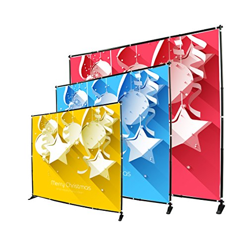 Display Factory USA 8' Telescopic Photography Banner Stand Step and Repeat Display Adjustable Backdrop Wall Trade Show Background ()