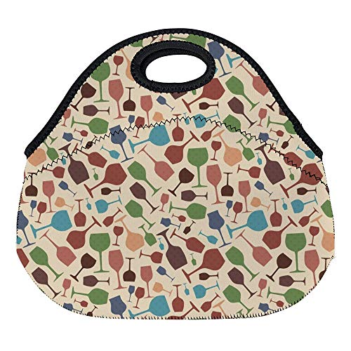- DKISEE Red Wine Glasses Retro Pattern Large & Thick Neoprene Lunch Bags Insulated Lunch Tote Bags Cooler Warm Warm Pouch for Women Teens Girls Kids Adults