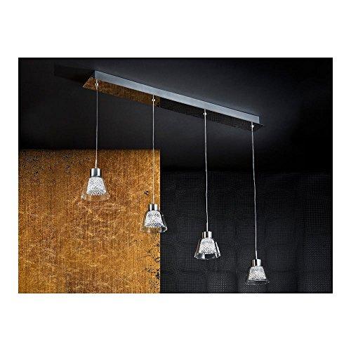 Schuller Spain 673416I4L Modern Chrome Hanging Ceiling Light Pendant glass shade pendant light 4 Light Dining Room, Living Room, Kitchen Molded Glass | ideas4lighting by Schuller