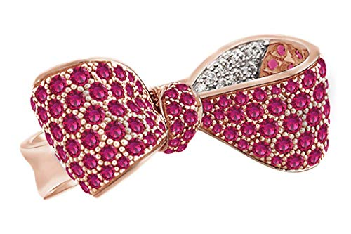 AFFY Round Cut Simulated Pink Sapphire & White Cubic Zirconia Bow Ring in 14k Solid Rose Gold Ring Size-7 (Rose Gold And Pink Sapphire Ring)