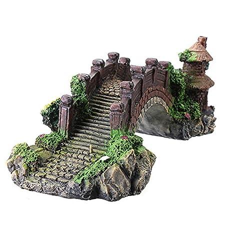 KingFly Acuario Pecera puente resina pabellón ornamento decoración acuario paisajismo: Amazon.es: Productos para mascotas