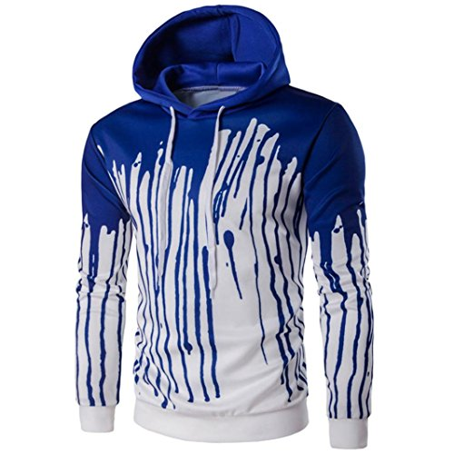 Mens' Long Sleeve Hoodie Hooded Sweatshirt Tops Jacket Coat Outwear (M, Blue)