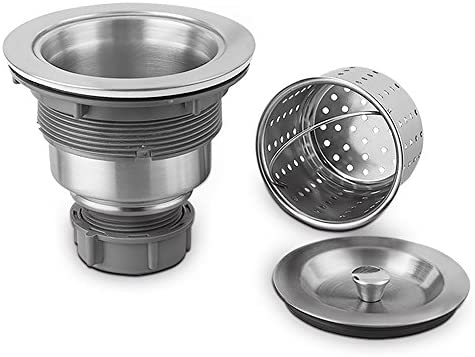 304 Premium Stainless Steel Construction with Stopper Serene Valley 3-1//2 inch Kitchen Sink Strainer Assembly