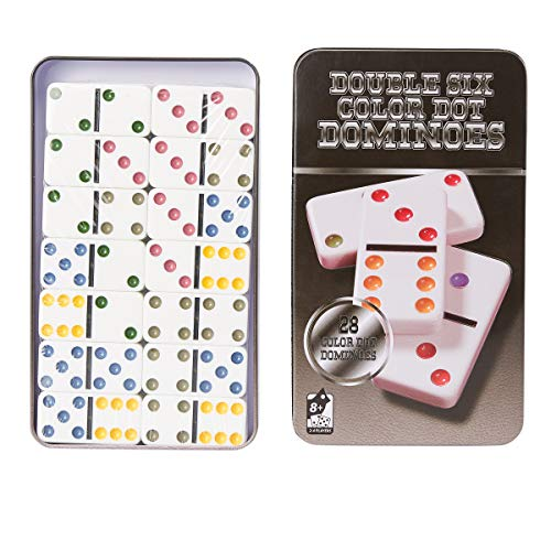Juvale Double Six Dominoes - Classic 28-Piece Game Set, Color Dot Tiles in Tin Collector Storage Case Double Six Dominoes Tin