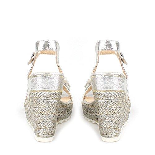 Miss Diva Polly Ladies Women High Wedge Ankle Strap Flower Trim Espadrille Open Toe Wedge Sandal Silver eSF8G