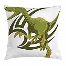 Dinosaur Throw Pillow Cushion Cover, Cartoon Style Sketching Happy Face Standing Tyrannosaurus with Big Claws, Decorative Square Accent Pillow Case, 18 X 18 Inches, Olive Green White