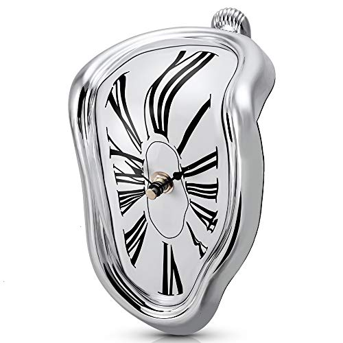 - Koicaxy Melting Clock,Salvador Dali Melted Clock Watch Sits on Shelf Desk Table Decor Silver