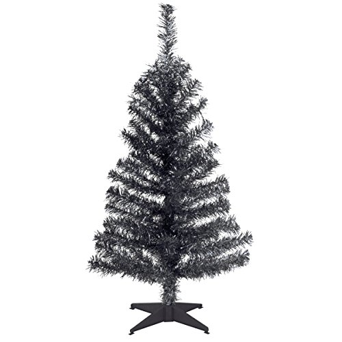 National Tree 3 Foot Black Tinsel Tree with Plastic Stand (TT33-704-30-1) -