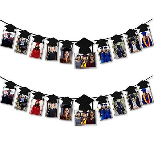 2-Sets Graduation Banner Graduation Cap Shaped Photo Banner Garland for Graduation Party Decorations