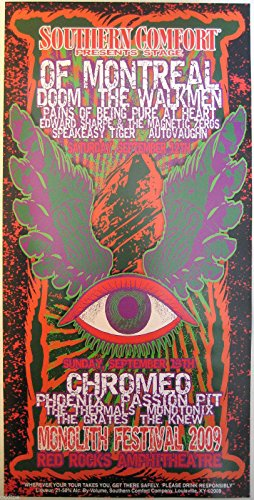 Oddtoes Music Memorabilia of Montreal, Chromeo- Original 2009 Monolith Festival Poster by Lindsey Kuhn