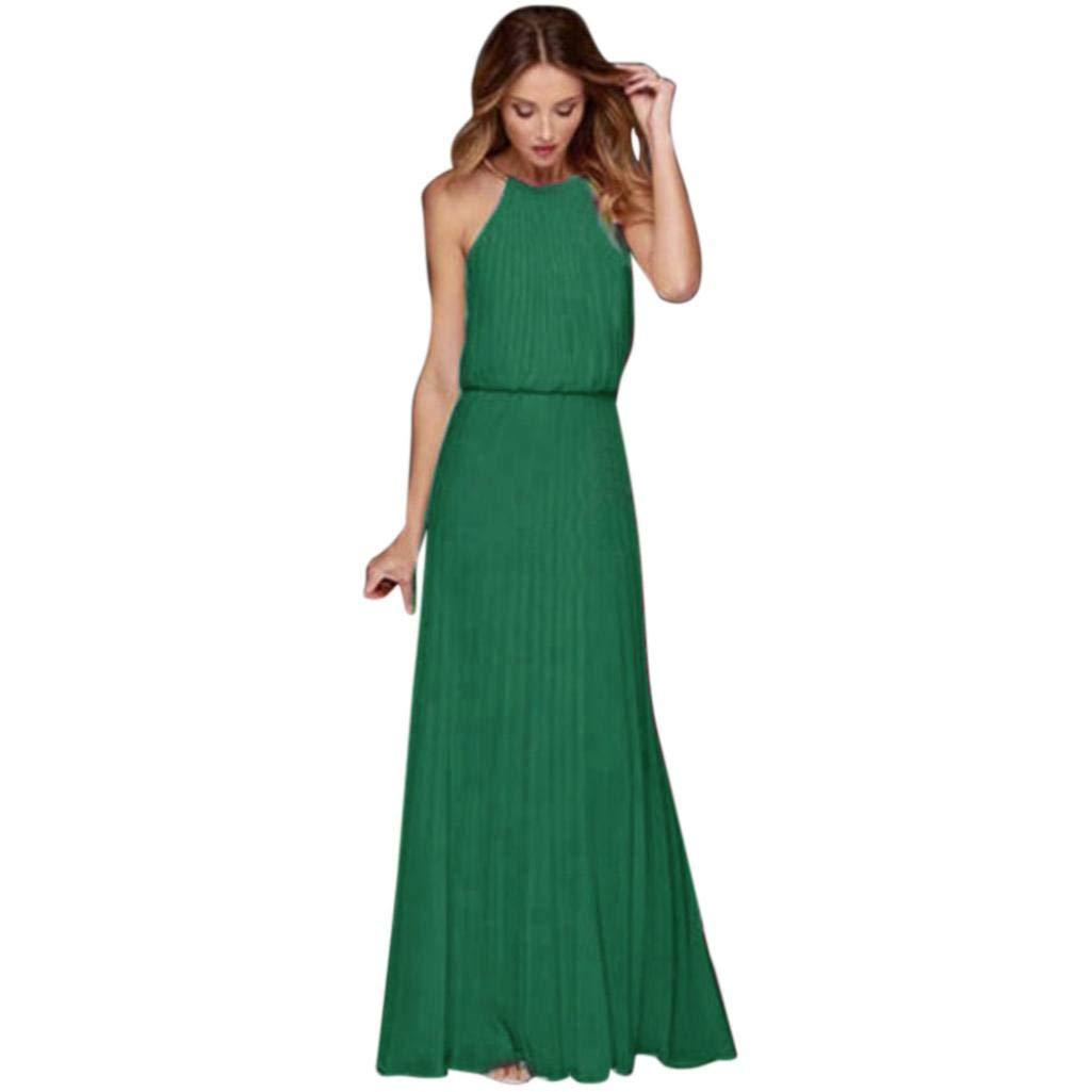 Kleid Lange Damen Vintage Spitzenkleider Hochzeit Chiffon Sleeveless Abschlussball Abend Partei Langes Maxi Kleid Elegant Brautjungfer Abendkleider Solide Gr.S-XL