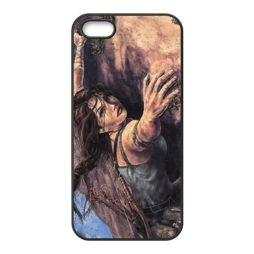 Girl Tomb Raiderara coque iPhone 4 4S cellulaire cas coque de téléphone cas téléphone cellulaire noir couvercle EEEXLKNBC25409