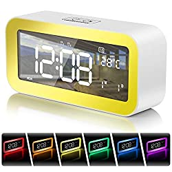 Digital Alarm Clock Wake-up Light, 6.5 LED Display Clock Colorful Night Light, Dual Alarms with Snooze&Dimmer,25 Alarm Tones,Sunset Simulation,Workday Mode,2 USB Chargers, USB Port and Memory Battery
