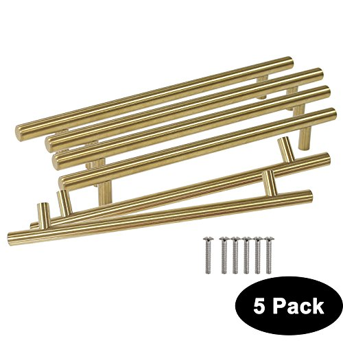 5 Pack Probrico Hole Center 5inch T Bar Brushed Brass Stainless Steel Kitchen Cabinet Hardware Handle For Furniture Kitchen Hardware Drawer Pulls Knobs Diameter 1/2 inch (1/2' Pull Drawer)