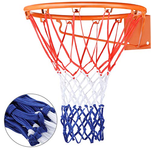 Heavy Duty Basketball Net Replacement All Weather Basketball Net Fits Standard Indoor or Outdoor, 12 Loop (Red, White, Blue) (Replacement Nets Netting For Hoop)