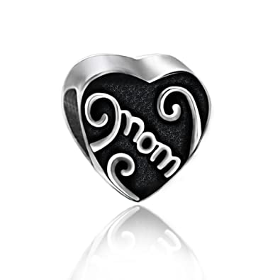 79639bacd Everbling Mother's Day Love Heart for Mom Mother Family 925 Sterling Silver  Bead Fits European Charm