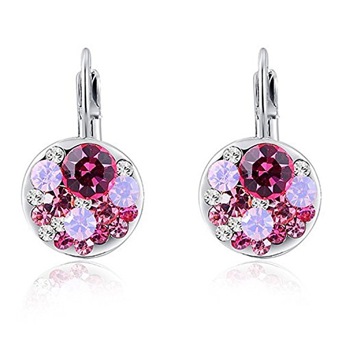 2019 4 Colors Round Stone Zircon Earrings Fashion Jewelry Best Gift For Woman,Pink with silver