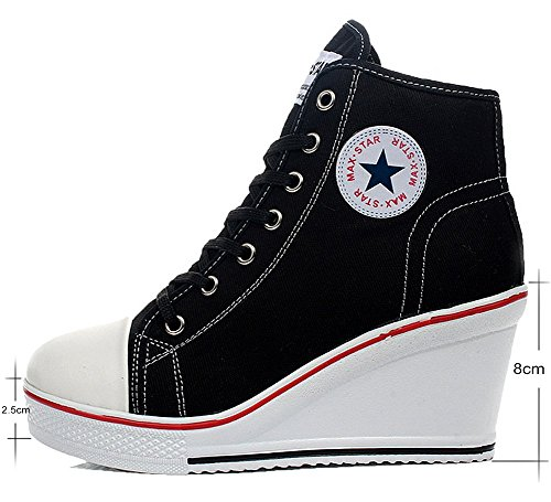 8 Nero Allacciate cm Donna Donna da Sneaker Sneaker Zip Lato Moda Tela Scarpe wealsex Zeppa Scarpe Donna Alte Ix8CwqyvTF