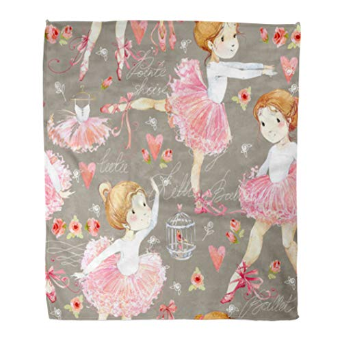 Emvency Decorative Throw Blanket 60 x 80 Inches Pink Cartoon Ballerina with Cute Girl White Watercolor Baby Ballet Beautiful Beauty Child Classic Warm Flannel Soft Blanket for Couch Sofa Bed