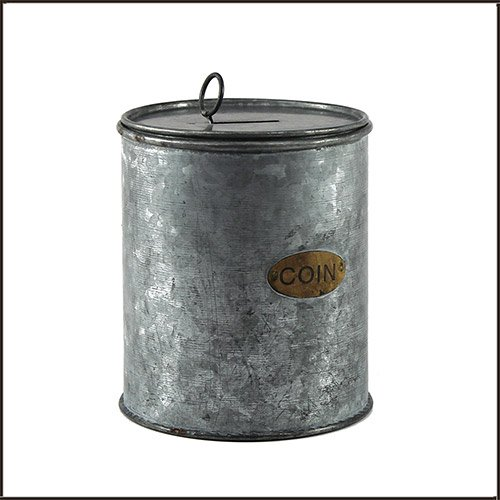 Galvanized Can Coin Bank