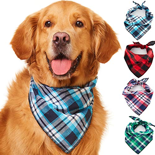 Odi Style Dog Bandana - 4 Pack Cotton Washable Colored Plaid Dog Bandanas Handkerchiefs Scarfs Bibs Cat Puppy Dog Accessories for Small Medium Large Dogs Puppies for Dog Birthday Party Travel Outfit -