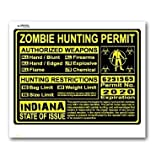 Indiana IN Zombie Hunting License Permit Yellow - Biohazard Response Team - Window Bumper Locker Sticker