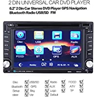 AutoLover 6.2 Inch 2 Din Car GPS Navigation System In Dash Touch Screen Car Stereo DVD Player with Bluetooth V3.0 USB SD TFT-LCD screen,3D map, voice guidance