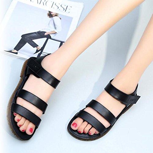 Verano Mujer Black para Playa Suaves Casuales ZHONGST Sandalias De Zapatos De Romanas Axn67tFUq