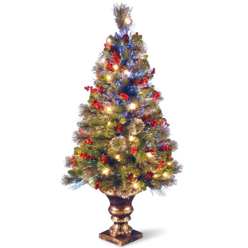 National Tree 4 Foot Fiber Optic Crestwood Spruce Tree with Cones, Glitter and Red Berries in Gold Pot (SZCW7-105L-40) (4ft Christmas Fibre Tree Optic)