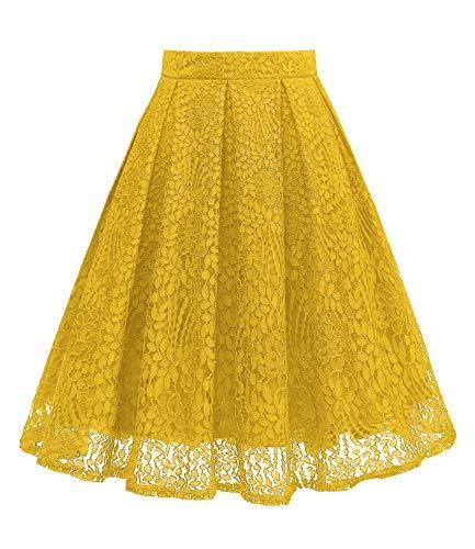 Girstunm Women High Waist Pleated A-Line Knee Length Lace Pockets Skirt Gold XL