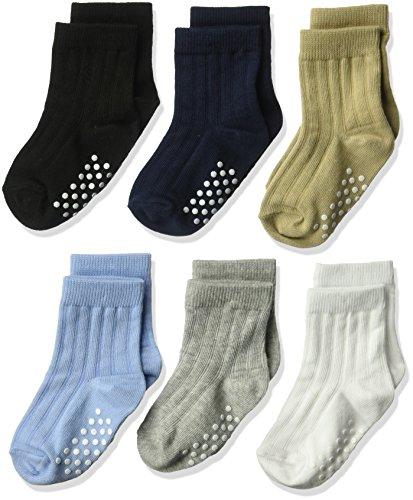 Jefferies Socks Boys' Non-Skid Rib Cotton Crew Socks 6 Pair Pack, Multi, Toddler (Socks Rib)