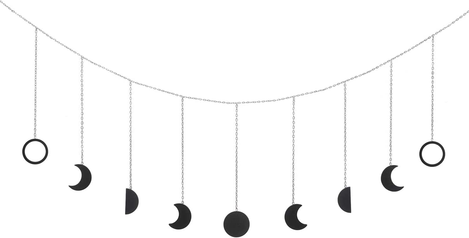 OCIOLI Moon Phase Garland with Chains Boho Hanging Ornaments Moon Hang Art Room Decor for Wedding Home Office Nursery Room Dorm (Black)